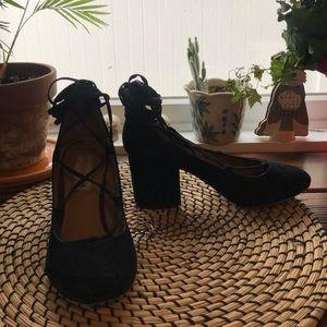 {Steve Madden} black suede lace up